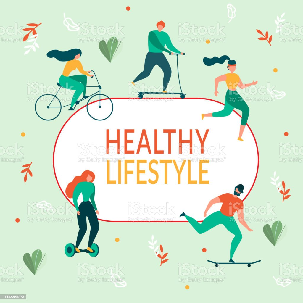 Cartoon People Healthy Lifestyle. Outdoors Activity Vector...