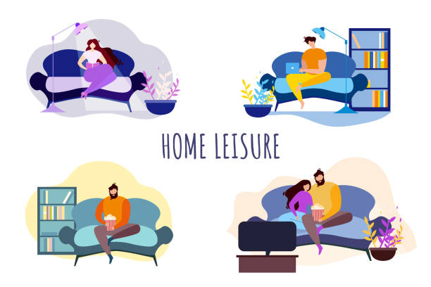 stockillustraties, clipart, cartoons en iconen met cartoon mensen home leisure avond entertainment - vrouw hobby