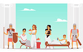 istock Cartoon people in Ancient Rome at leisure time. Roman royalty banner 1295315186