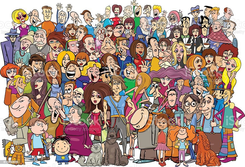 cartoon people in the crowd vector art illustration