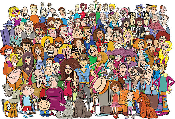 cartoon people in the crowd - karikatur stock-grafiken, -clipart, -cartoons und -symbole