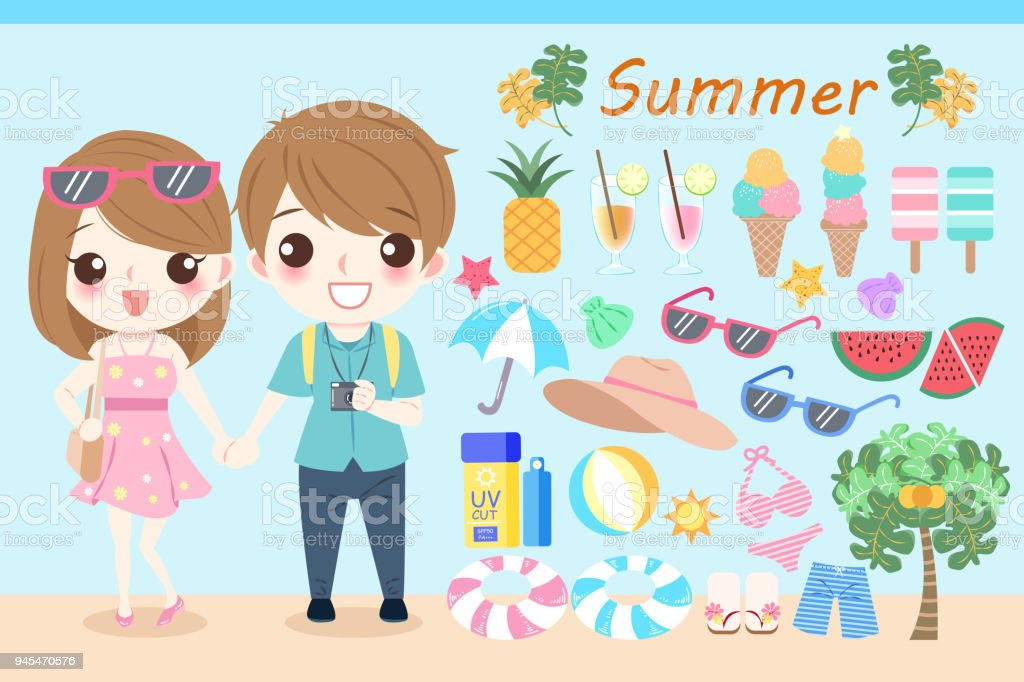 cartoon people in the summer vector art illustration