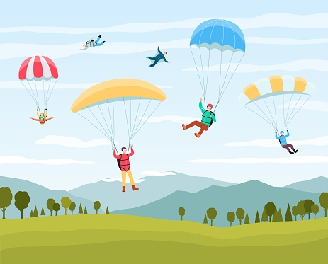 Cartoon people jumping with parachutes in summer sky