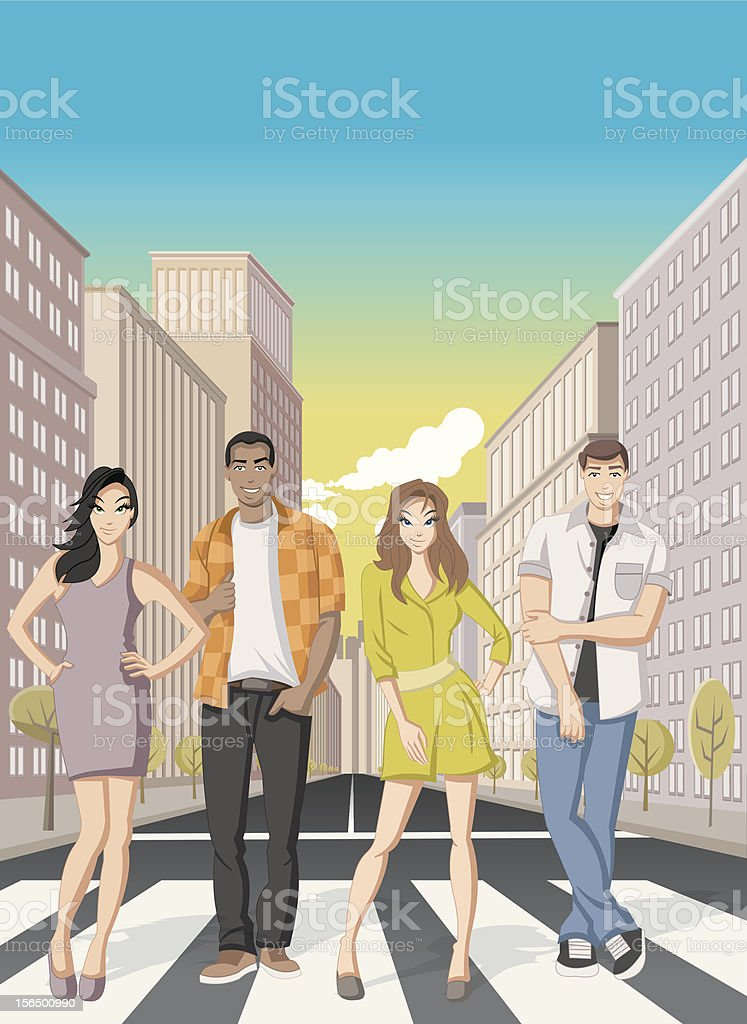 Cartoon people on downtown street royalty-free stock vector art