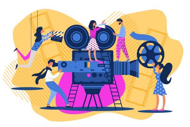 Cartoon People on Movie Set Cinema Scene Shoot