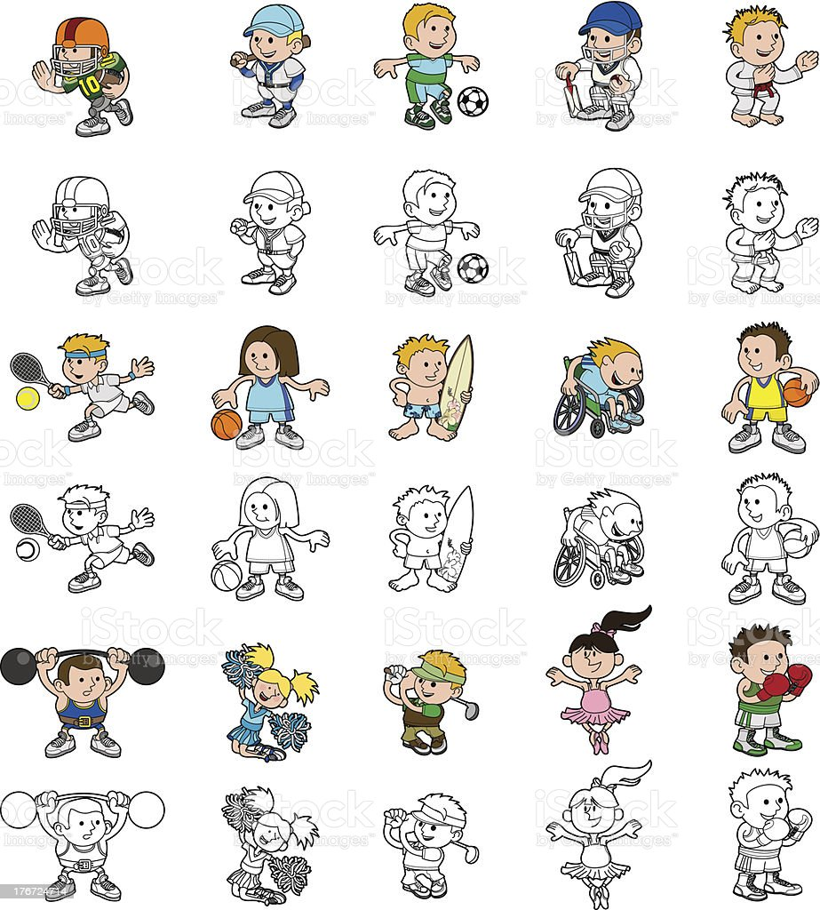 Cartoon people playing sports vector art illustration