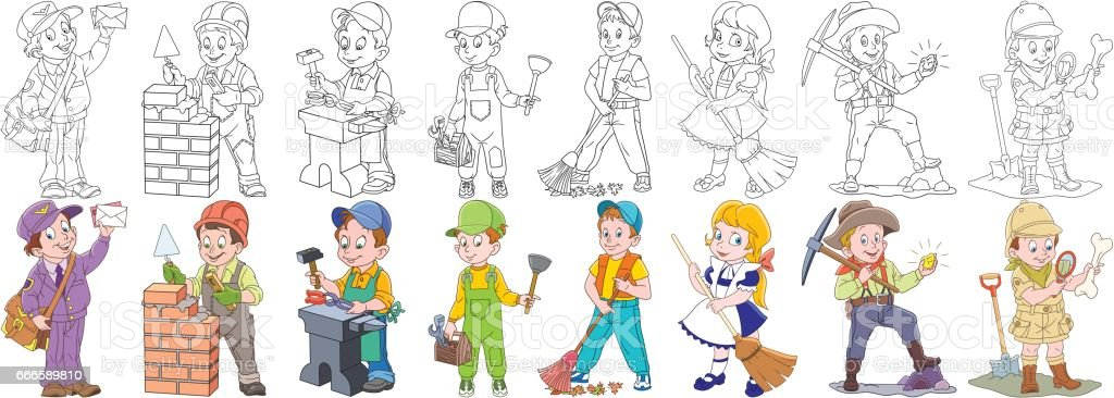 Cartoon working people set. Collection of professions. Postman,...
