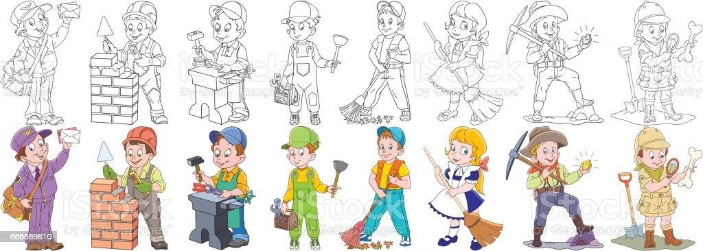 cartoon people professions set vector art illustration