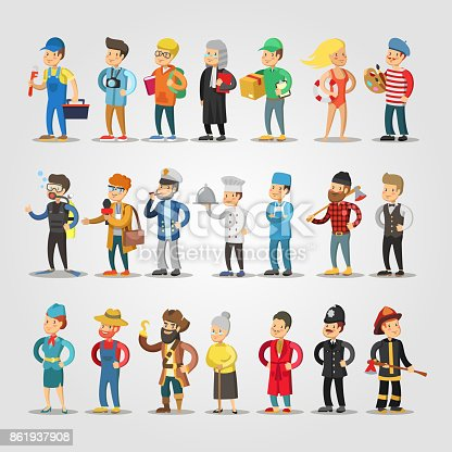 istock Cartoon People Professions Set with Doctor, Judge, Student, Repairer, Chief, Farmer 861937908