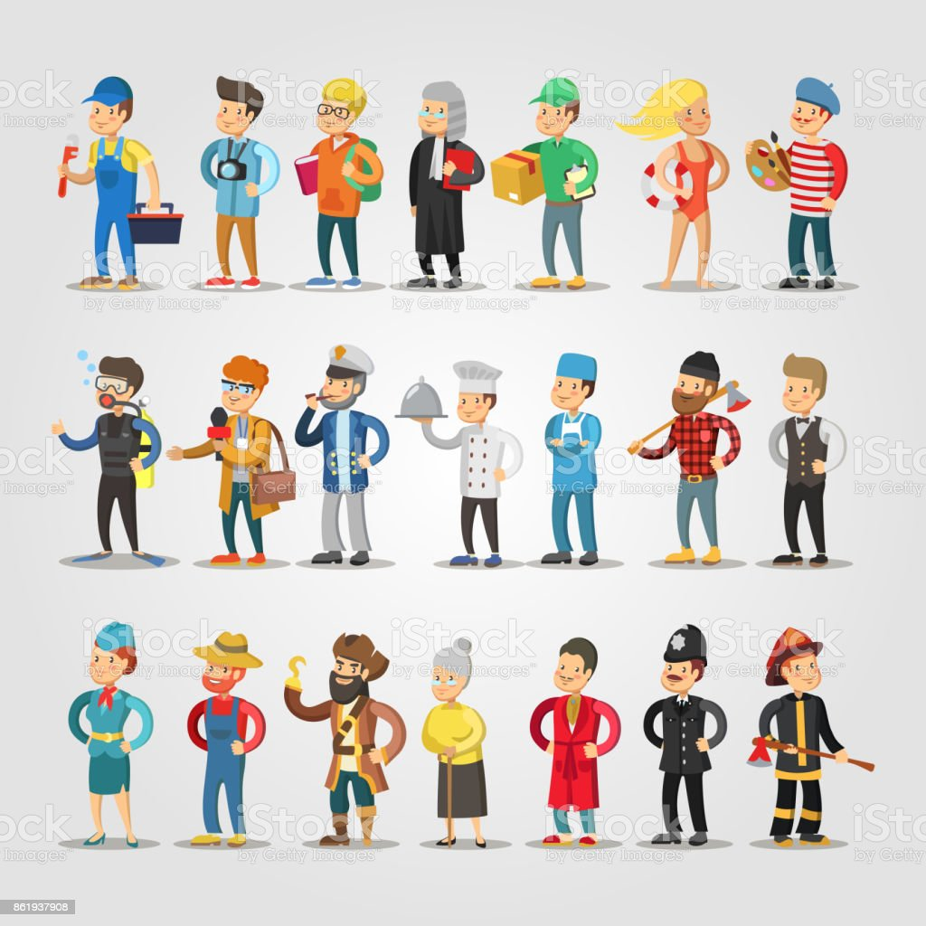 Cartoon People Professions Set with Doctor, Judge, Student, Repairer, Chief, Farmer vector art illustration