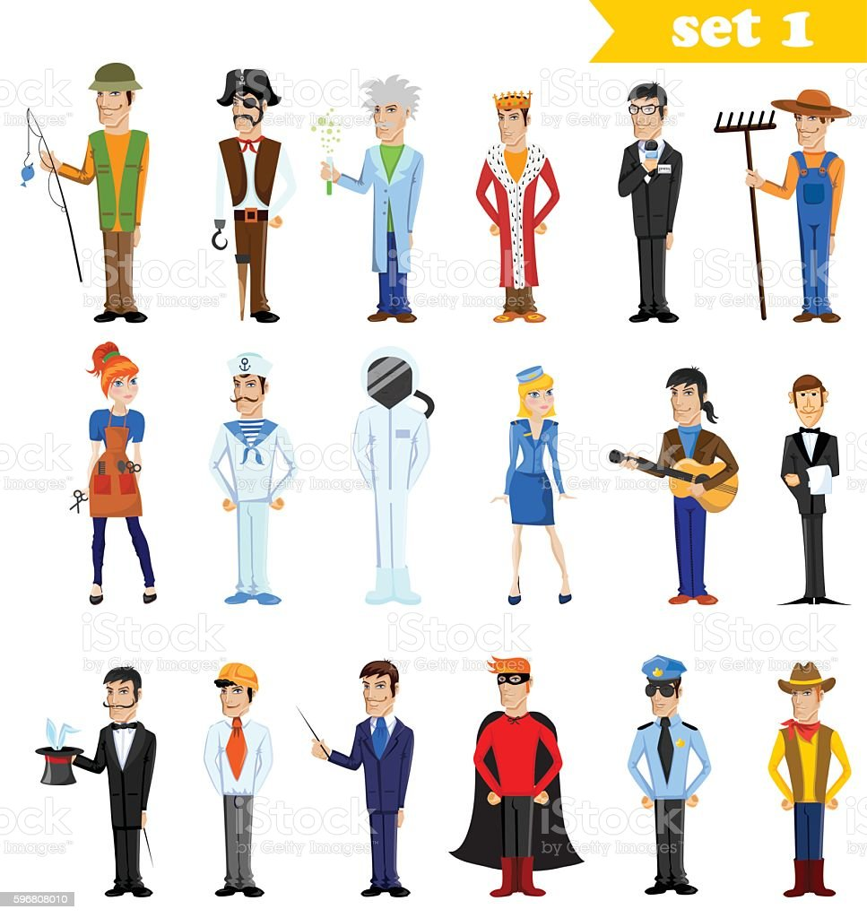 Different cartoon people professions, characters set