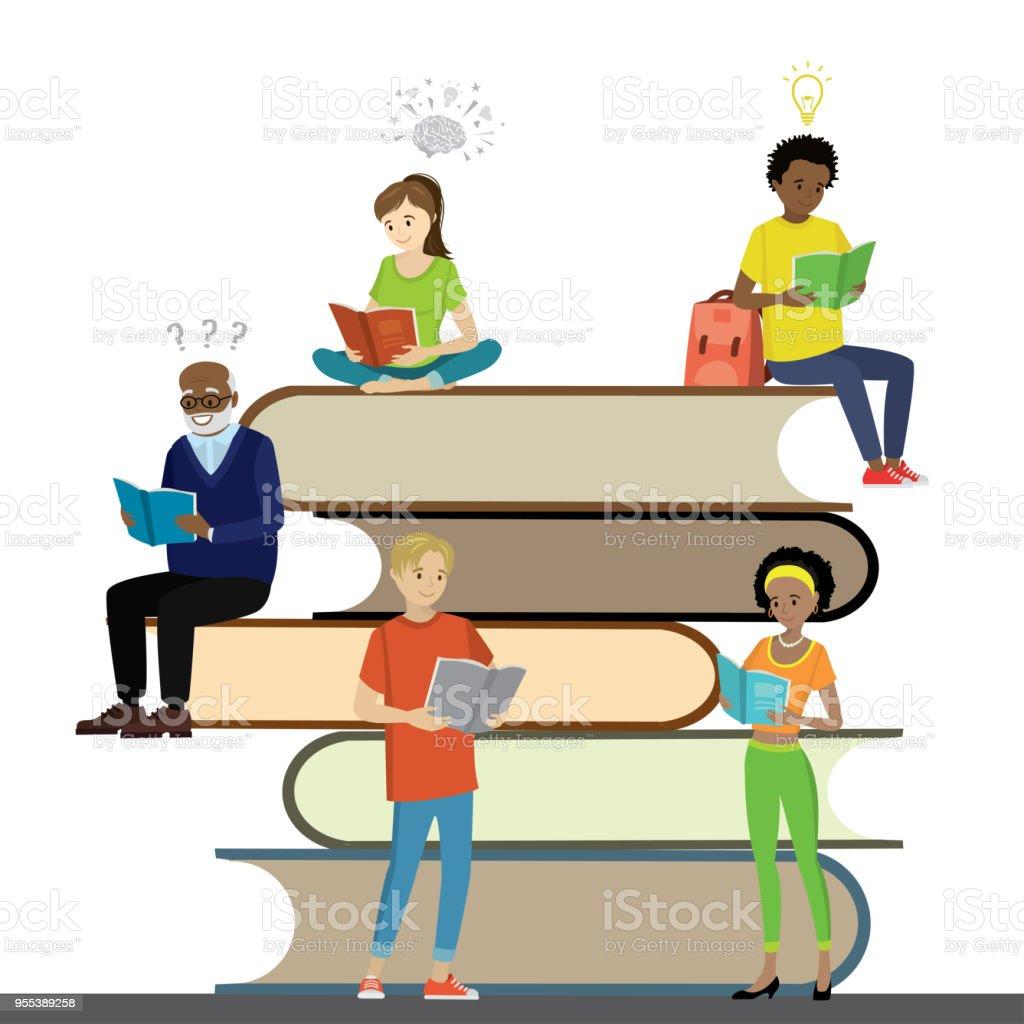 Cartoon people read books,learning process, - Grafika wektorowa royalty-free (Afro)
