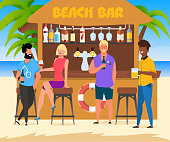 Cartoon People Relax at Beach Bar Illustration. Vector Male and Female Group Drinking Beer and Wine. Friends Enjoying Summer Vacation in Tropical Country. Sea Resort. Tropical Paradise and Recreation