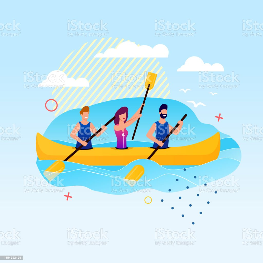 Cartoon People Rowing on Canoe. Slalom Kayak Events. Outdoors Water...