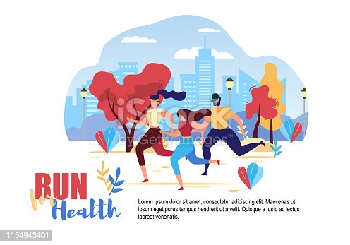 Cartoon People Run for Health City Street Road