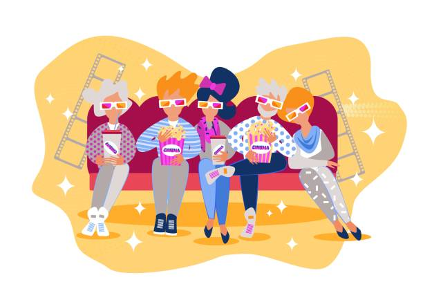 ilustrações de stock, clip art, desenhos animados e ícones de cartoon people sit couch eat popcorn cinema movie - tv e familia e ecrã