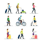 Cartoon People Traveling Set Man and Woman Vacation or Holiday Concept Element Flat Design Style. Vector illustration of Tourism