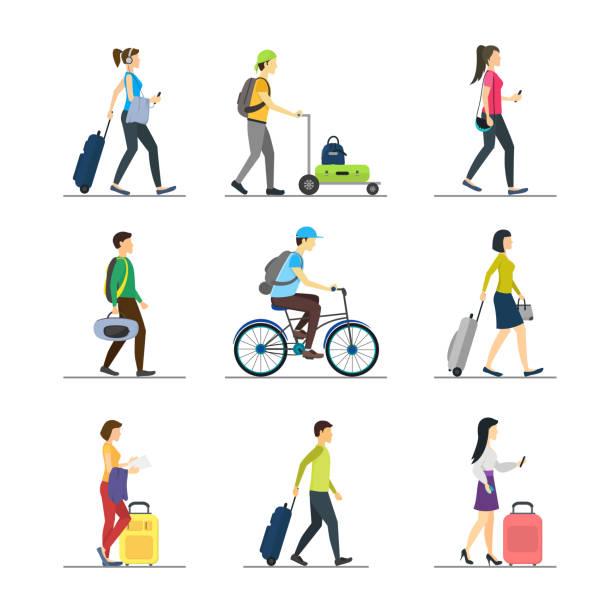 karikatür kişi seyahat ayarlayın. vektör - turist stock illustrations
