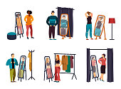 Cartoon people using wardrobe at shop or store