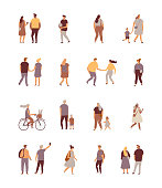 Crowd. Different People vector set. Male and female flat characters isolated on white background.