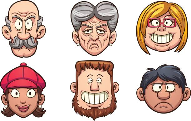 cartoon people - old man smiling silhouettes stock illustrations, clip art, cartoons, & icons