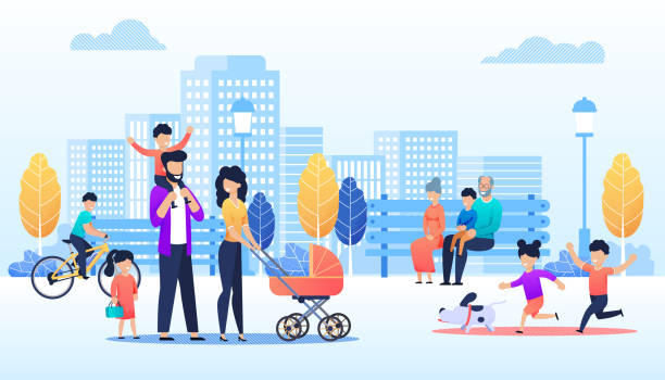 Cartoon People Walking in Urban Park Illustration Vector Cartoon People Walking in Urban Park Illustration. Happy Children run with Dog, Family Pass with Kids and Baby Pram, Grannies with Grandson Sit on Bench, Boy Cycling. Flat City Skyline Backdrop happy family stock illustrations