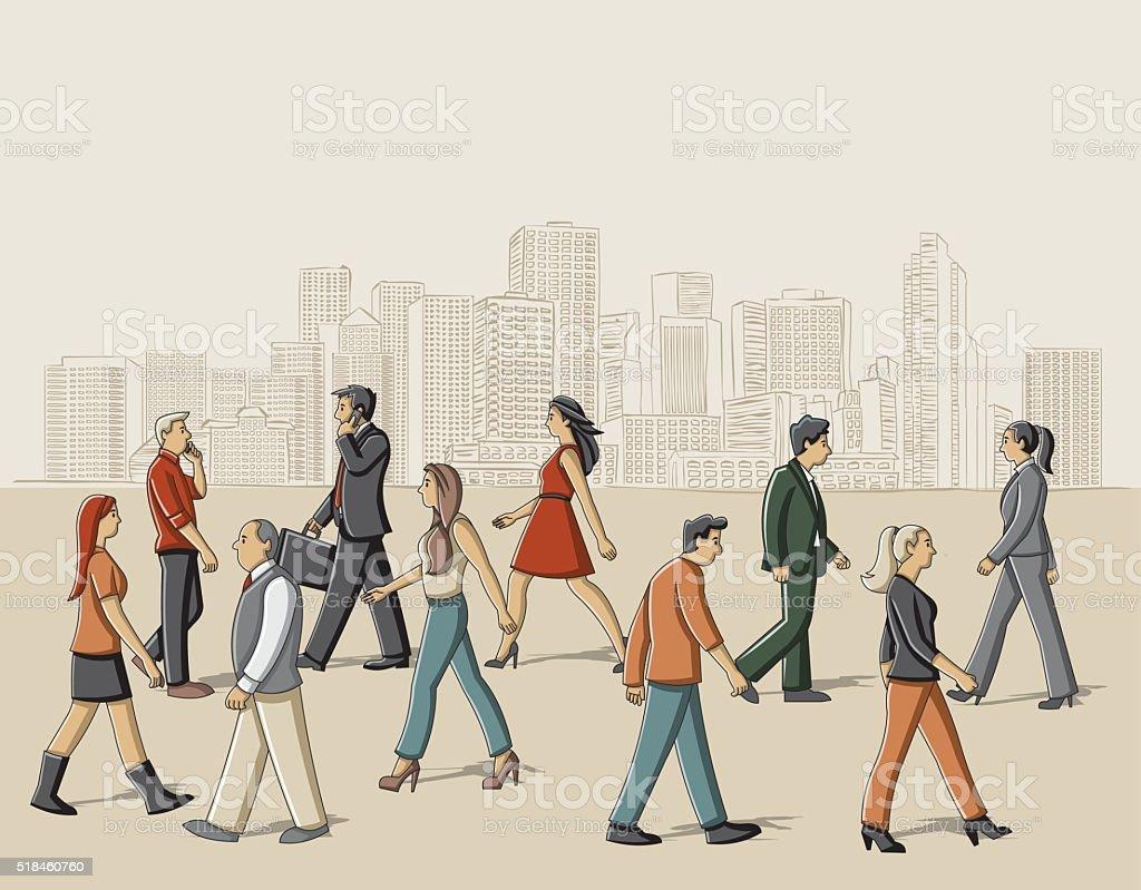 Dibujos Animados Personas Caminando Por La Calle