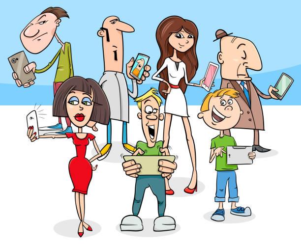 stockillustraties, clipart, cartoons en iconen met cartoon mensen met moderne elektronische apparaten - karikatuur