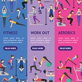 Cartoon People Workout Exercise in Gym Banner Vecrtical Set. Vector
