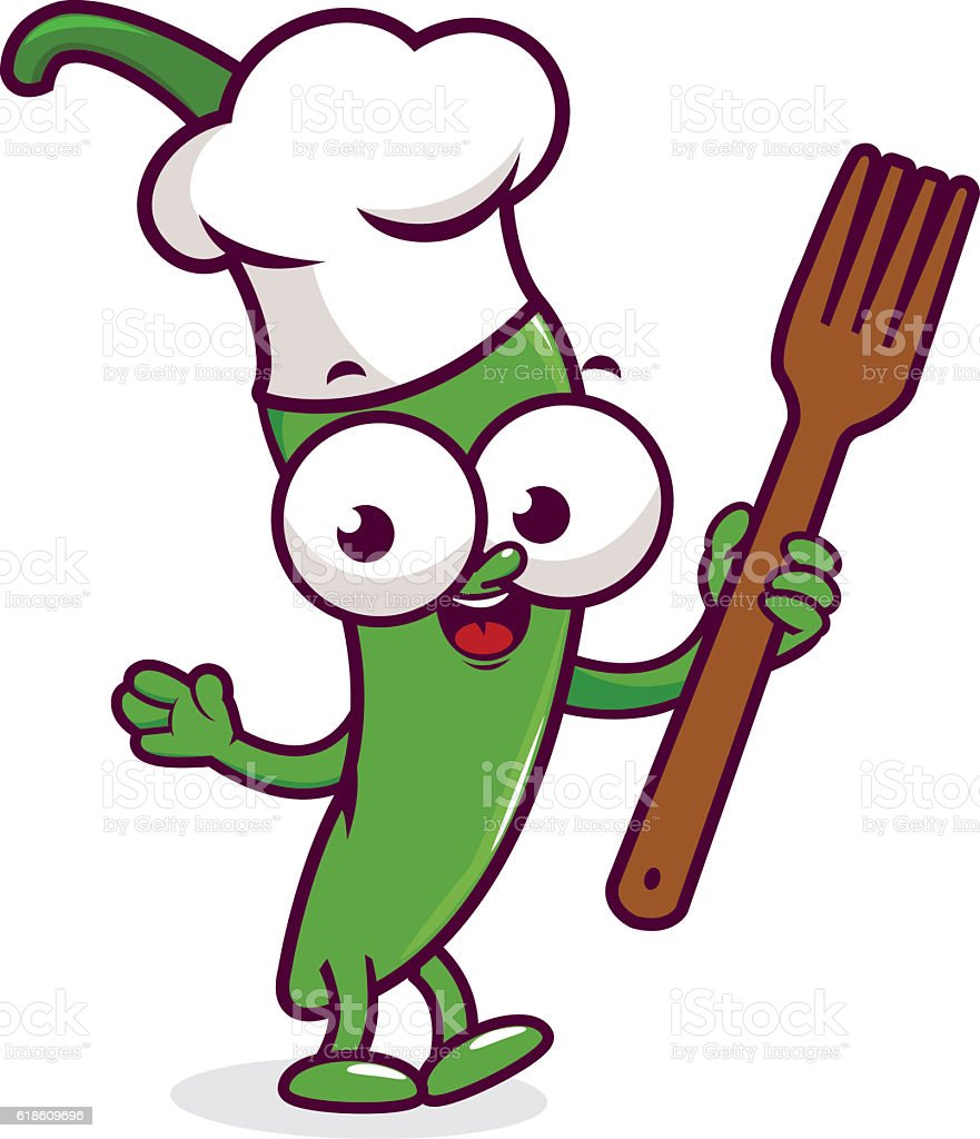 Cartoon pepper chef holding a cooking fork