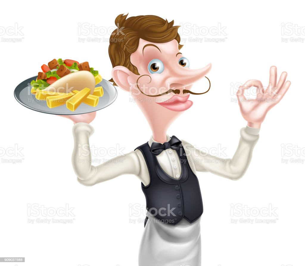 Cartoon Perfect Kebab and Chips Waiter vector art illustration
