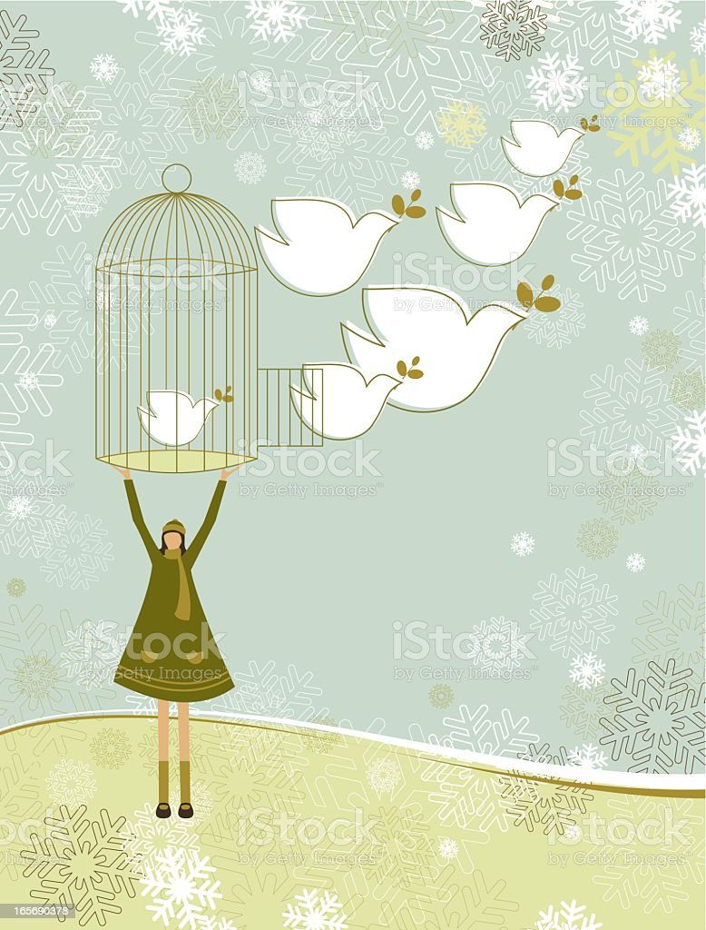 Cartoon person releasing doves symbolizing peace on earth royalty-free stock vector art