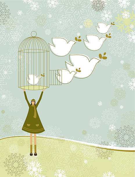 Cartoon person releasing doves symbolizing peace on earth vector art illustration