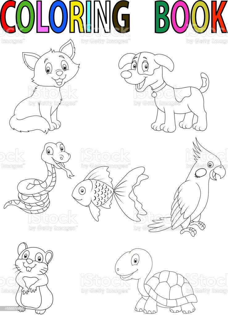 Ilustración De Dibujos Animados Mascota Libro Para Colorear