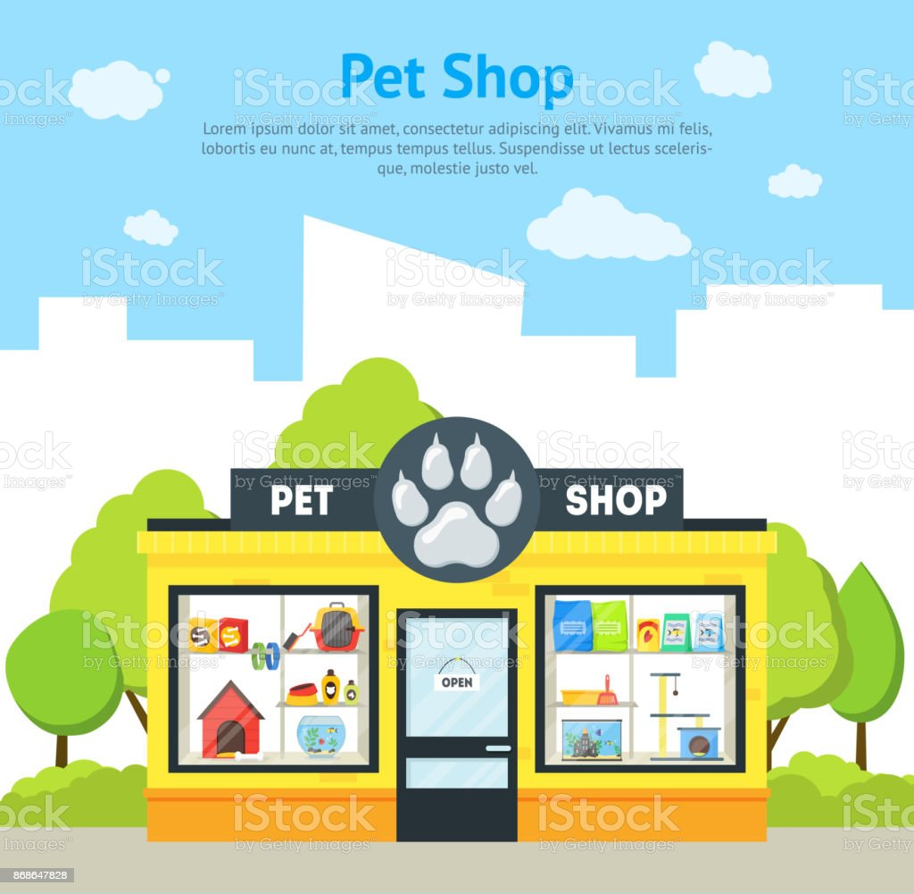 Cartoon Pet Shop Building Card Poster. Vector vector art illustration