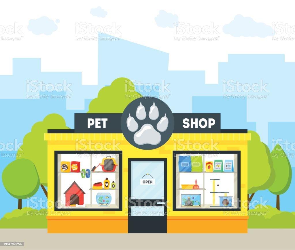 Cartoon pet shop building vector stock vector art more for Fish and more pet store