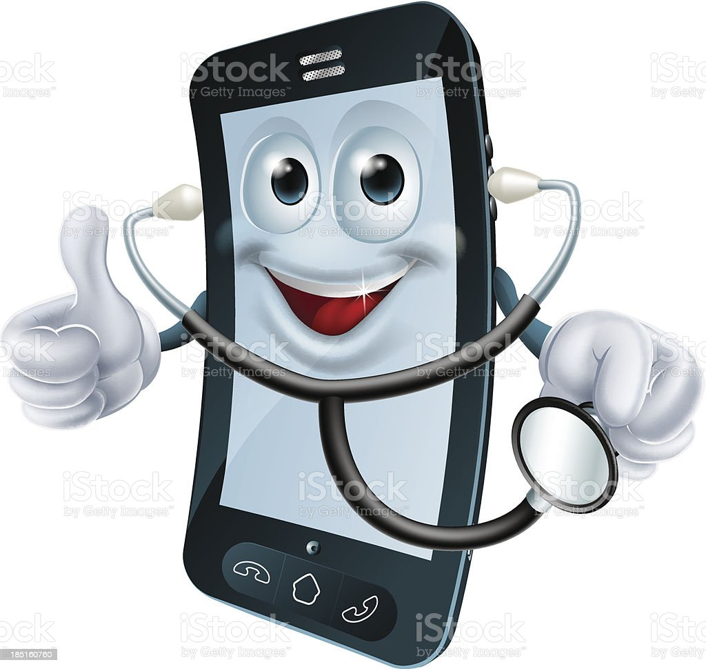 Cartoon phone character holding a stethoscope royalty-free stock vector art
