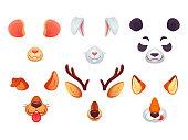 Cartoon phone masks. Funny animals ears, tongue and eyes. Brown dog bunny red fox panda bear mouse and deer mask. Animal faces vector set