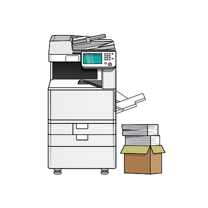 Cartoon photo copier for kids which is a vector illustration for preschool and home training for parents and teachers.