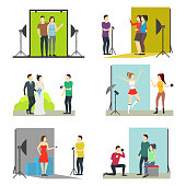 Cartoon Photo Studio Set Concept Professional Photographer People and Equipment Element Flat Design Style. Vector illustration of Session