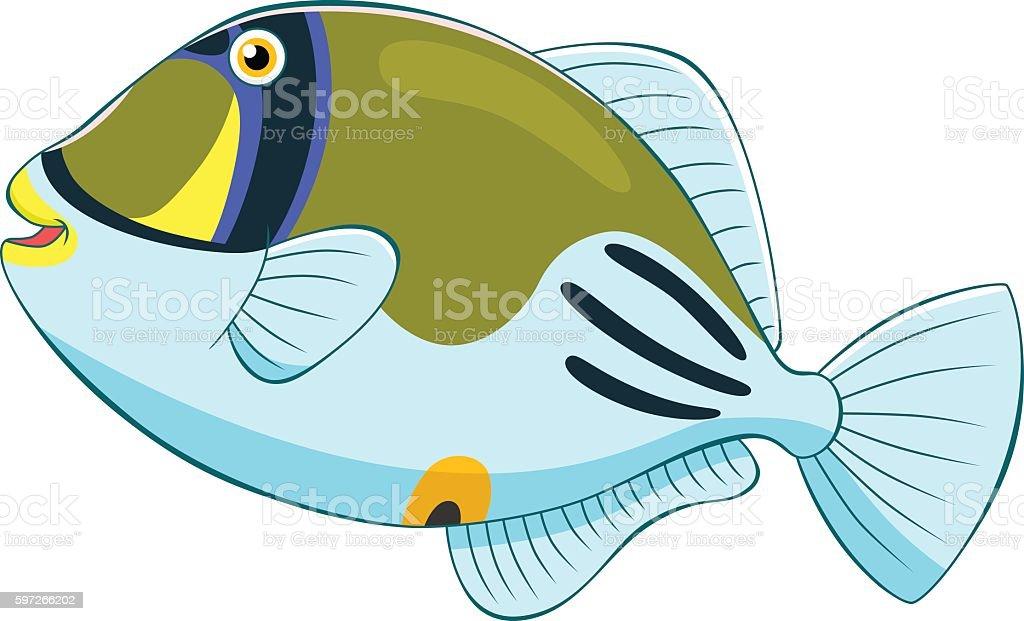Cartoon picasso triggerfish royalty-free cartoon picasso triggerfish stock vector art & more images of animal