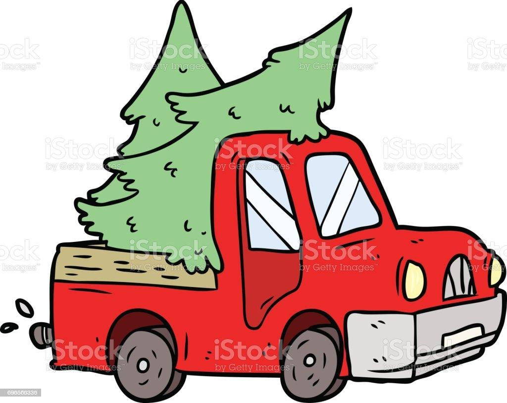 Dessin Animé Camionnette Transportant Des Arbres Vecteurs