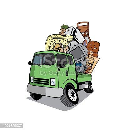 istock Cartoon pickup truck full of household junk 1201329007