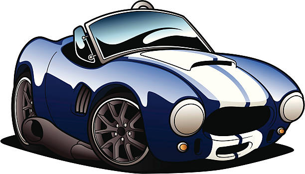 Cartoon picture of a blue sports car vector art illustration