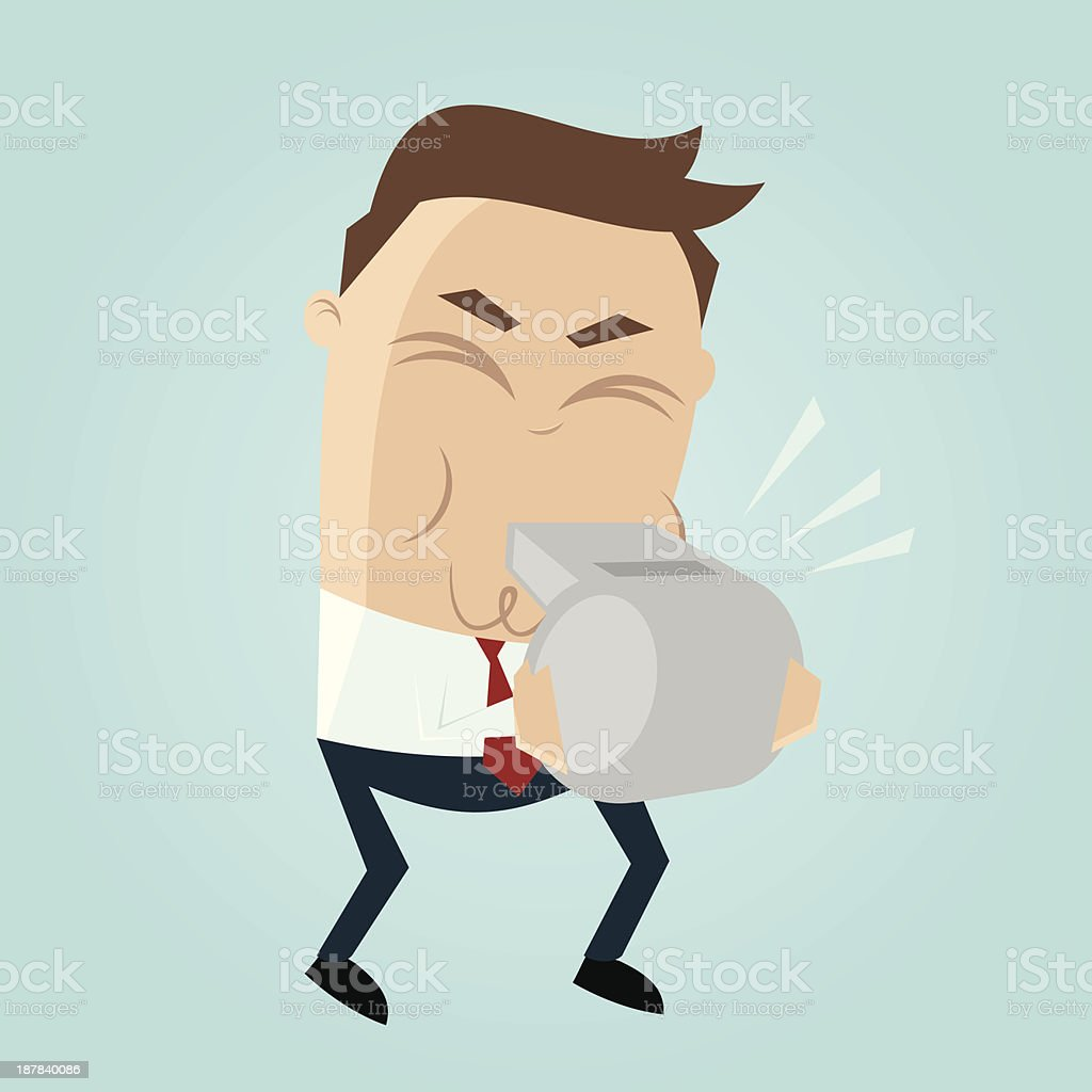 Cartoon picture of a man in a tie blowing a whistle royalty-free cartoon picture of a man in a tie blowing a whistle stock illustration - download image now