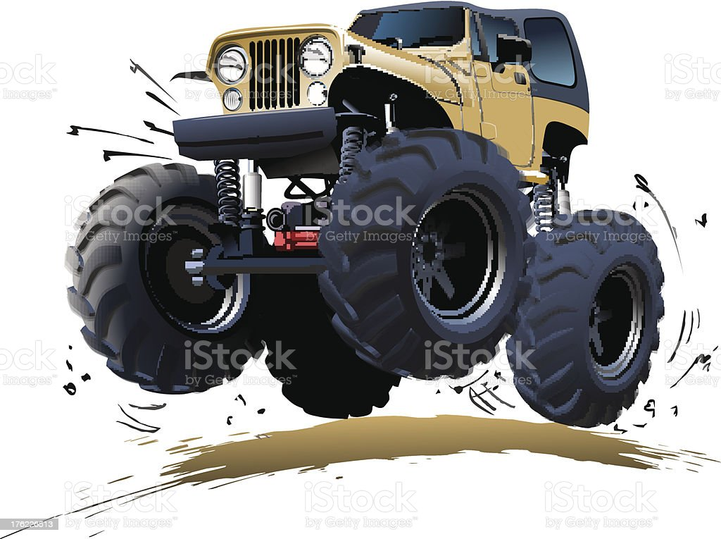 A cartoon picture of a monster truck vector art illustration