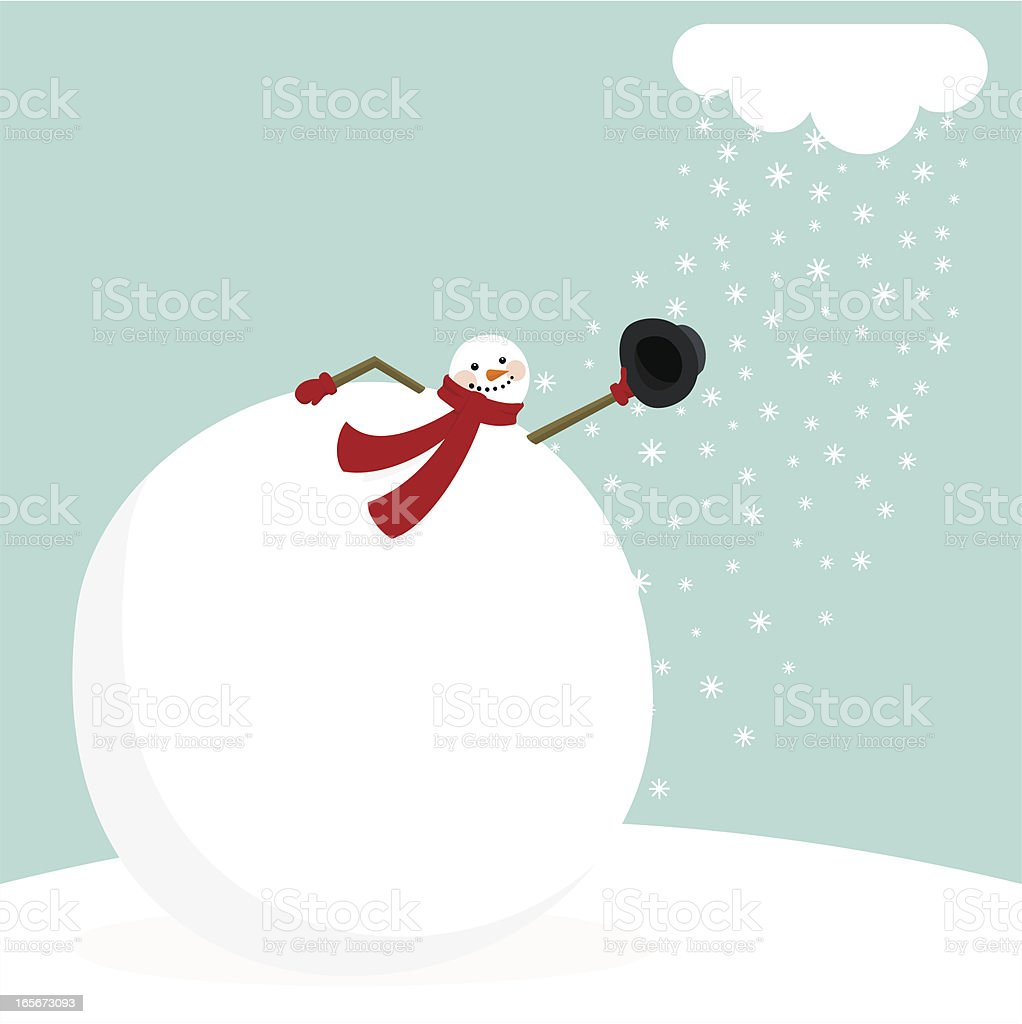 A cartoon picture of a snowman removing his hat vector art illustration