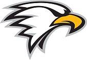Logo style eagle head mascot. Great for sports logos & team mascots.
