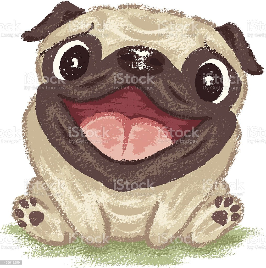 Cartoon picture of happy and smiling pug vector art illustration
