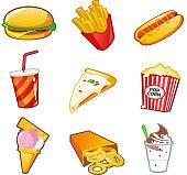 Fast food icon set.http://andresgalante.com/lightbox/food.jpg